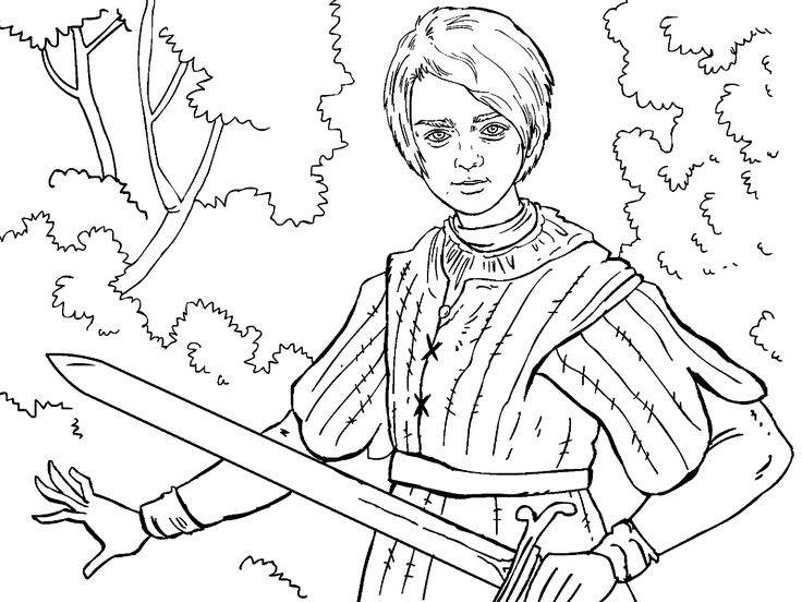 game of thrones colouring in page arya - Colouring In Game