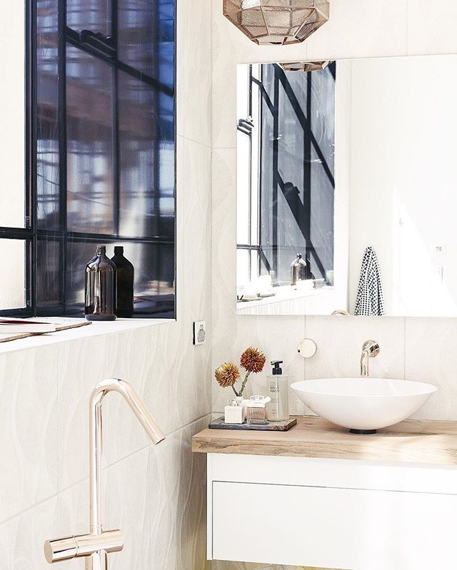 "We're still swooning over the polished finishes of Will and Karlie's master bathroom on #TheBlock, which the judges' described as ""vast"". Rustic features evoke old world charm while modern, clean-lined surfaces add the sleek convenience of modern living. ""This has a lot of class, a lot of elegance,"" said @shaynnablaze. Talk about bathroom goals."