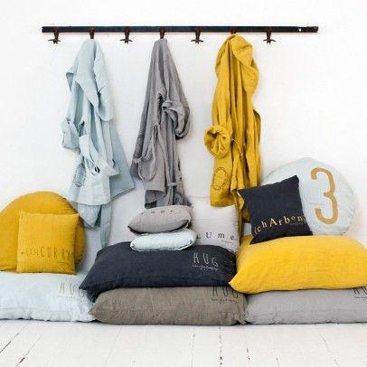 Kissen aus Leinen mit Siebdruck bedruckt -65 Cm Blassrosa  Bed and philosophy