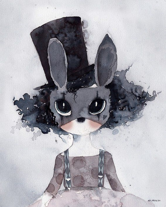 Mrs Mighetto 'Circus Mighetto' Miss Luca watercolour art print - 40x50cm