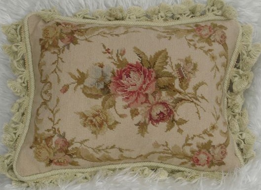 vintage needlepoint pillow in pink for chaise