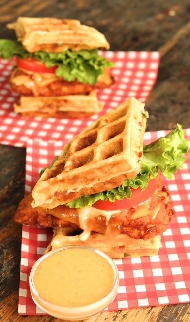 Buttermilk Fried Chicken and Bacon Cheddar Waffle Sandwich with Maple Sriracha Aioli