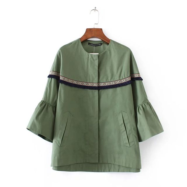 Trendy Women Vintage Retro Outwear Sleeve Laminated Fringed Stitching Loose Round Collar Tops