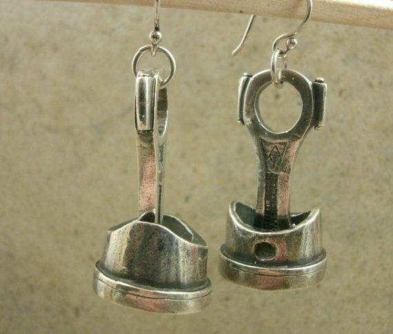 Piston Rod Earrings in Fine Silver - Engine Part - Machine - Automotive Mechanic - Industrial - Rockabilly - Car