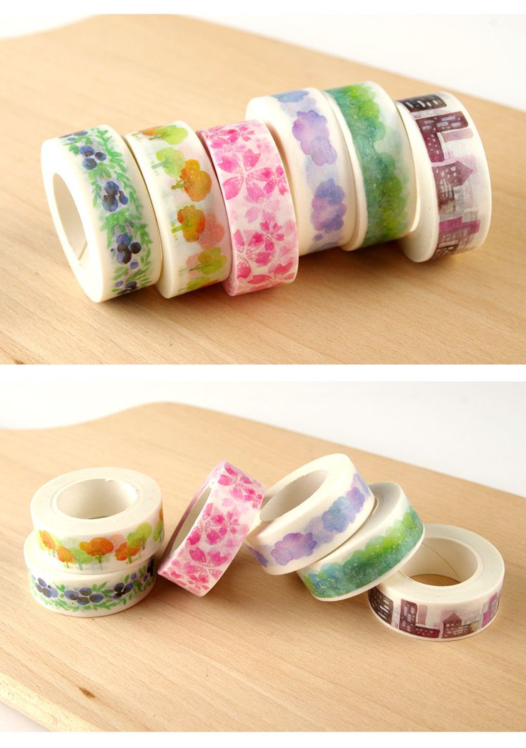 Water Colour Masking Tape, washi tape, floral print masking tape, washi tape, cellophane tape by KawaiiSundries on Etsy