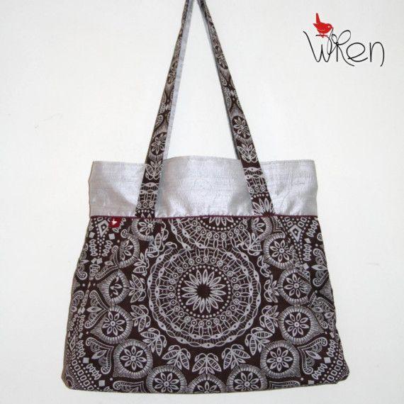 Silver Raw Silk and Radiating Brown Shweshwe Design Big Town Bag
