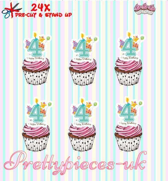 Boys 4th Birthday 24 Stand-Up Pre-Cut Wafer Paper Cup cake Toppers