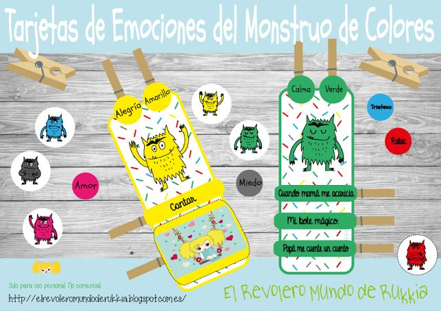 Tarjetas de Emociones del Monstruo de Colores.