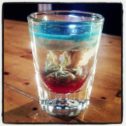 This is the Zombie Brains Shot!  One of our most popular shots so far! What do you think of it? #Bartendingschool4free