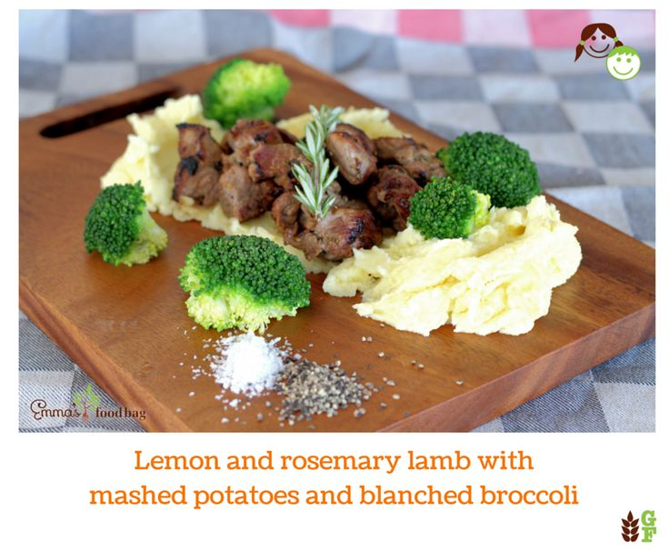 Lemon and rosemary lamb with mashed potatoes and blanched broccoli