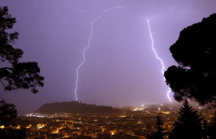 A flash of lighting lights up the sky above the 'Baie des Anges' in Nice, southeastern France, on No... - AFP/Getty Images