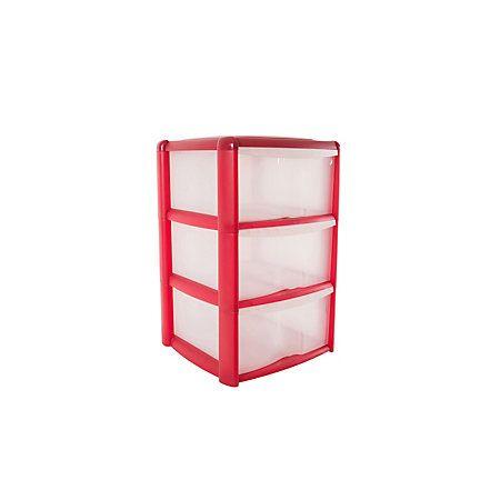 B&Q Red Plastic 3 Drawer Tower Unit | Departments | DIY at B&Q