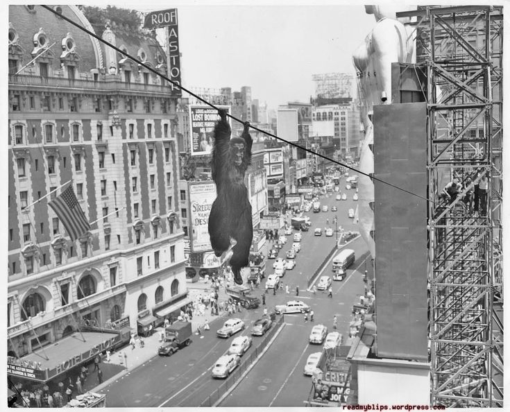 In 1949 press agents strung a tight rope across Broadway in Times Square and a stunt man dressed as a gorilla swung back and forth over the heads of gasping crowds to promote the film Mighty Joe Young which was playing at the Criterion Theatre (partial marquee shown lower right). http://ift.tt/2F9VB7b