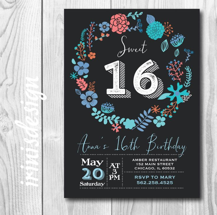 Chalkboard Sweet 16 Birthday Party Invitation | teal coral green blue floral wreath garden outdoor printable 93 by irinisdesign on Etsy https://www.etsy.com/listing/227197556/chalkboard-sweet-16-birthday-party