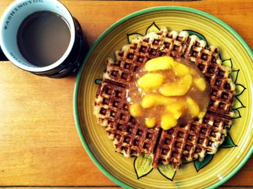 Waffles with Fresh Peach Sauce | Breakfast | Pinterest | Peach Sauce ...