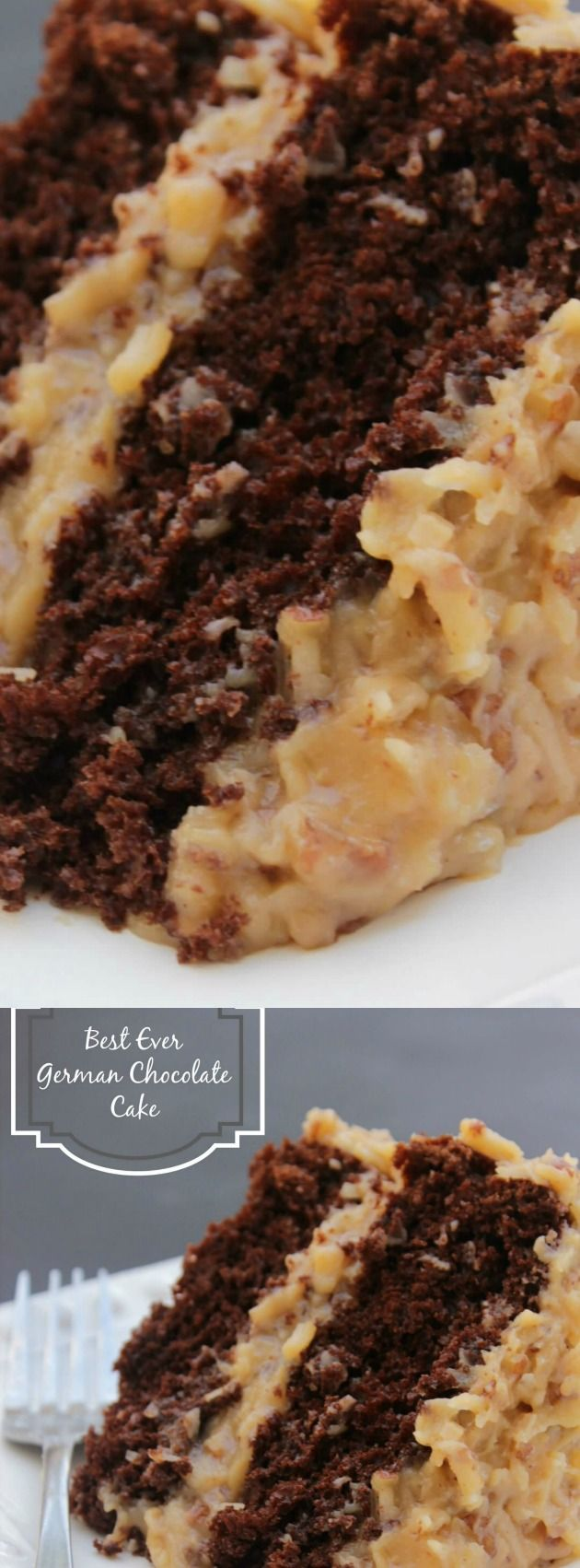 "This Best Ever German Chocolate Cake from Sandra over at A Dash of Sanity just might be the BEST German Chocolate Cake we've ever had!!! With it's double layer of cake goodness — and the classic German Chocolate Frosting you will seriously fall in love at first ""bite""!"