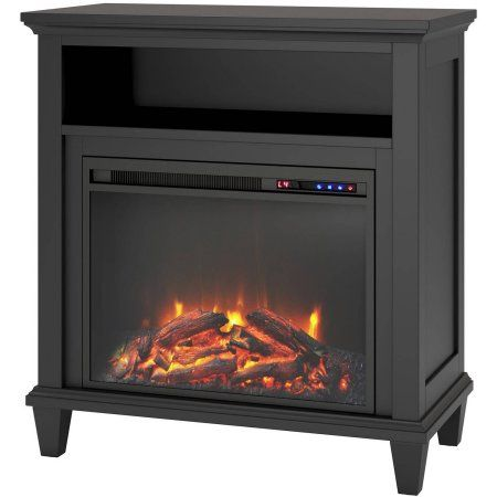 Altra Ellington 32 inch TV Stand with Fireplace, Multiple Colors, Black
