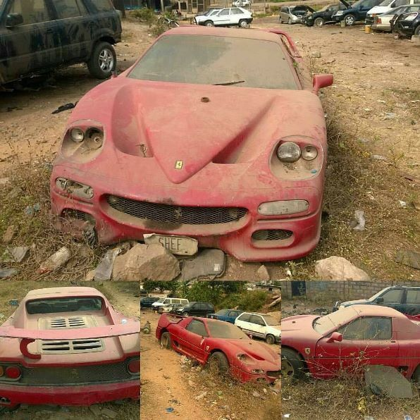 See Photos Of A Multi Millionaire Ferrari Car Abandoned In Ibadan