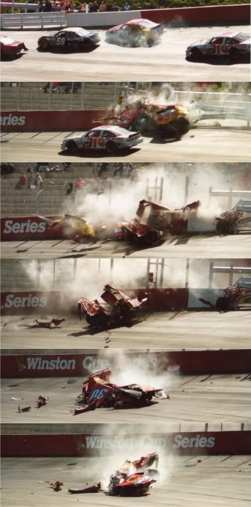 Michael Waltrip wipes out at Bristol, what is left of that car is now in a musem
