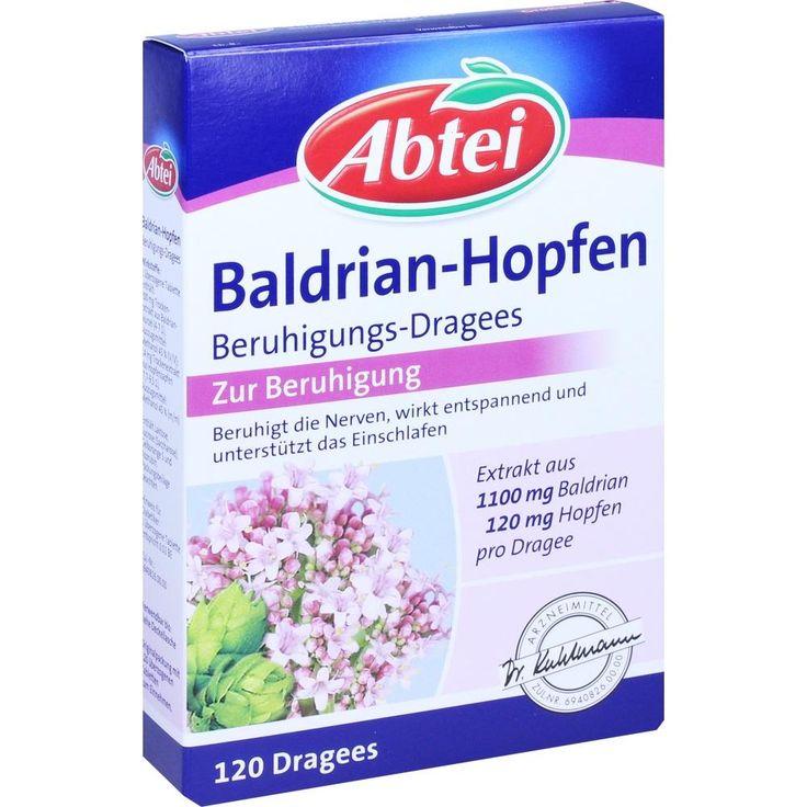 ABTEI Baldrian Hopfen Beruhigungs Dragees:   Packungsinhalt: 120 St Überzogene Tabletten PZN: 05948318 Hersteller: Omega Pharma…