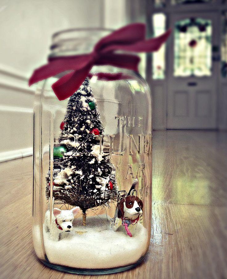 Christmas diorama in a mason jar! www.magnoliasquare.com ...