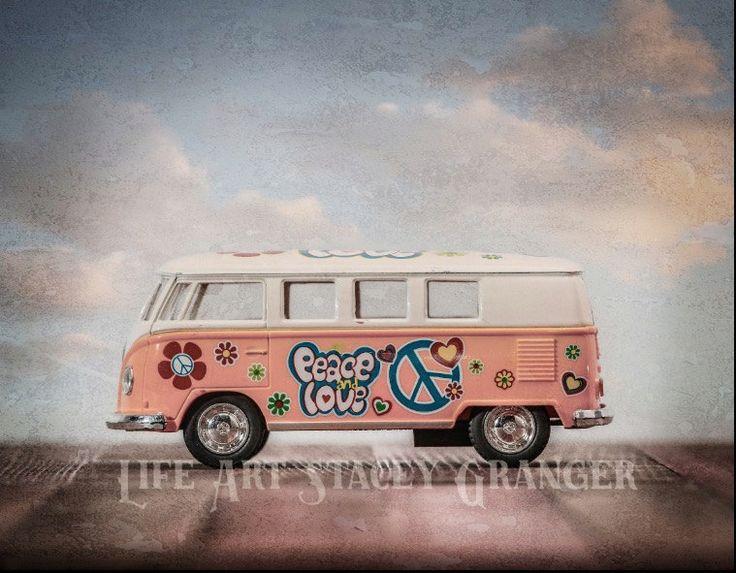VW Van - Peace Van - Girls Wall Art - Love Van - Girls Room - Canvas Wall Art - Rustic girls art - Vintage Girls Art by chiseledpine on Etsy