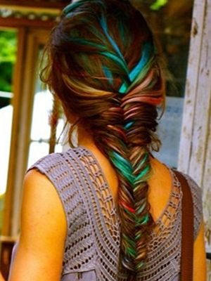 French braid with hair chalk highlights