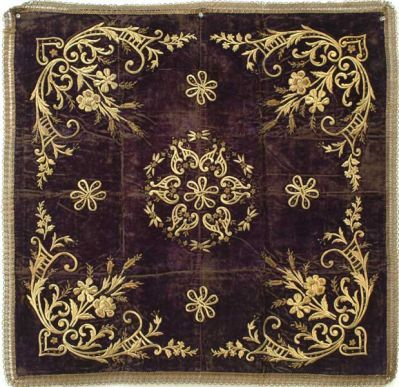 """Embroidery on Purple Velvet - Ottoman Empire, 19th c., silk velvet, gold thread, metallic coil, cardboard, some of the velvet area is worn, altogether producing a beautiful, worn look, good condition, 36"""" x 36"""""""