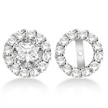 Round Diamond Earring Jackets for 8mm Studs 14K White Gold (1.00ct)