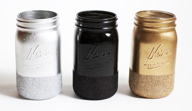 Glitter Dipped Mason Jars | Lilyshop