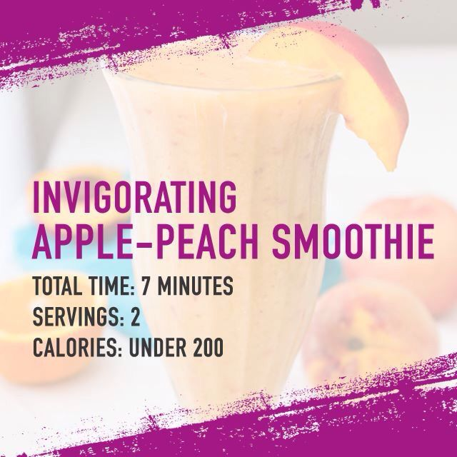 From The Shred Diet by Dr. Ian Smith  Invigorating Apple-Peach Smoothie 1 1/2 cups green apples, chopped 3 medium peaches, peeled, pitted and sliced 1 teaspoon lime juice 1/2 cup plain low-fat yogurt 1 cup of ice  Combine all ingredients in a blender and purée until smooth.