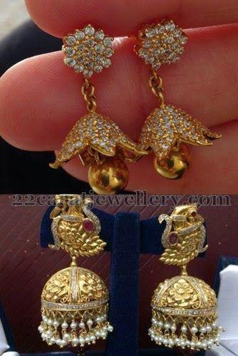 Jewellery Designs: Dull Finish Gold Jhumkas