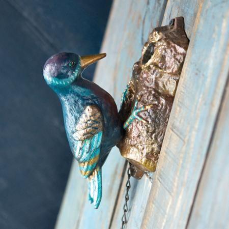 Hand-Painted Woodpecker Cast Iron Door Knocker - Walmart.com