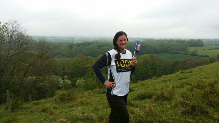 Nikki on a hill walk training for #Walk100 with a #BlindVeteransUK Flag! To support Nikki please visit: http://www.justgiving.com/StrideOnTime