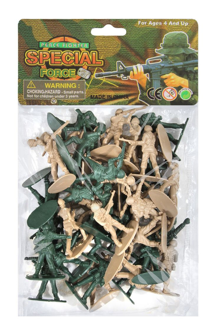 Army Men Toy Playset 40 Piece WWII - Tan And Olive Drab Soldiers