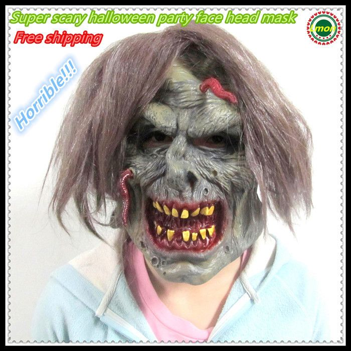 Free shipping Party Latex Scary mask Costume Halloween Creepy horrible face mask Full Head Face rubber terrible Mask wholesaler