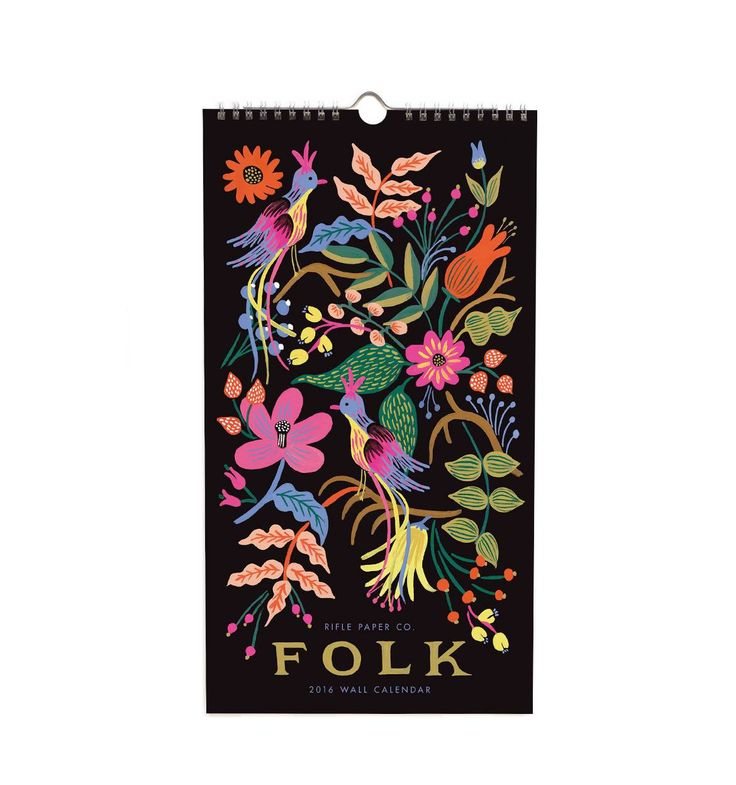 2016 Folk Features 12 Original Illustrations calendar....use to frame for large, multi-frame wall piece.