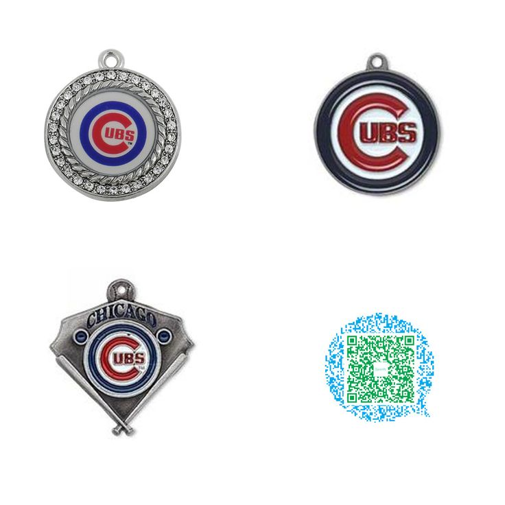 10 Pieces Rhodium or Antique Silver Plated Chicago Cubs Baseball Charms Pendant Jewelry