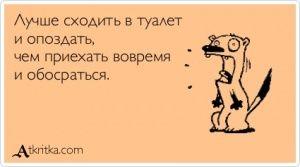 Аткрытка №373521: Лучше сходить в туалет  и опоздать,  чем приехать вовремя  и обосраться. - atkritka.com