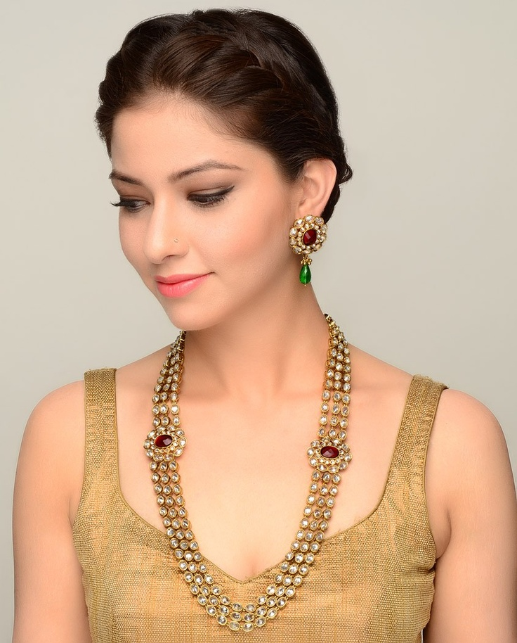 Kundan Stone Encrusted Necklace and Earrings - Exclusively In