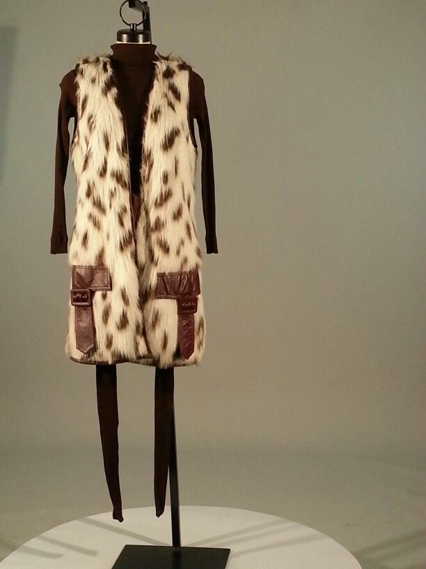 1960s brown leotard and Etlin vest, made in Canada