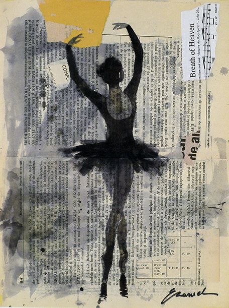 Ballerina - Autographed PRINT OF Original Ink Drawing and collage Signed by the artist AUTHOR OF ARTWORK: Emanuel M. Ologeanu (European Artist, born