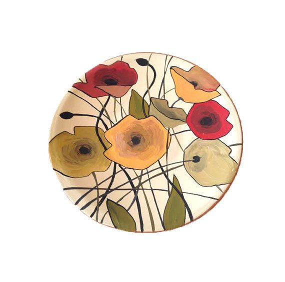 Decorative plate Flowers, Wall hangings, Home decor, Round ornament, White Hand painted plate, Living Room Decor, Rustic Style, Boho Decor