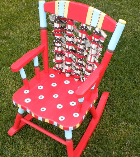 Red Dot Hand painted rocking chair.