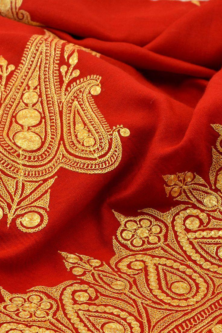 Cherry Red Tilla Zari Embroidered Pashmina Shawl