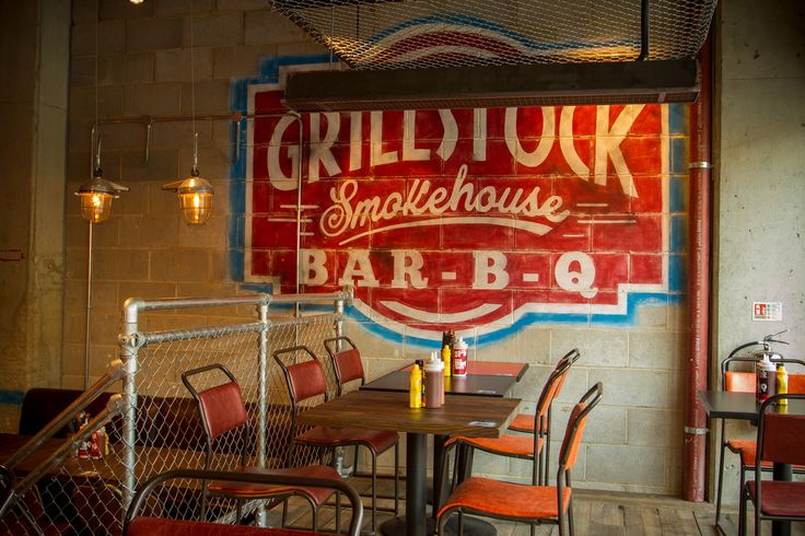 Grillstock - Restaurant hand-painted mural #typographical