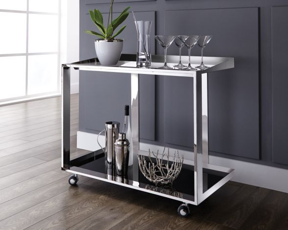 MADDOX BAR CART | A contemporary bar cart offering style and functionality. Featuring a polished stainless steel frame with black glass shelving for storage and display. Use in various rooms with castors for easy mobility.