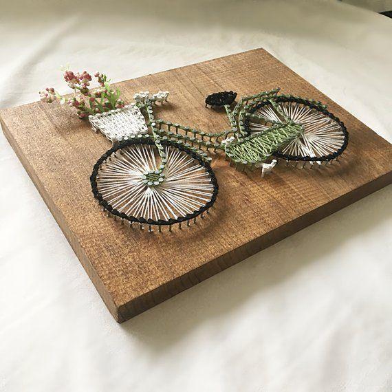 Grüne Fahrrad-String-Kunst, Fahrrad-String-Kunst, String-Kunst-Dekor