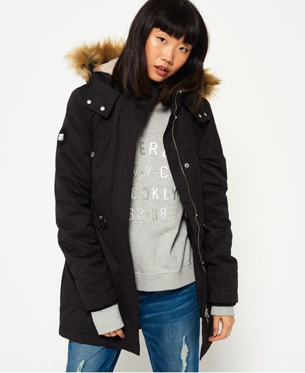 Superdry New Model Microfibre Parka Jacket Black | Jackets