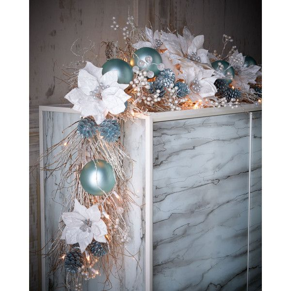 Ice Blue & Silver Pre-Lit 6' Christmas Garland featuring polyvore, home, home decor, holiday decorations, light blue, christmas holiday decor, pine cone home decor, christmas holiday decorations, silver home accessories and silver home decor
